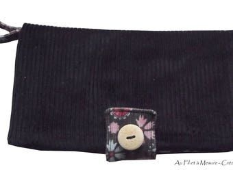 Black corduroy and velvet floral wallet