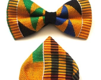 Kente Bowtie and pocket square set. Cotton gentlemen skinny bowtie and handerchief. Prettied knot. Adjustable length. 5 pieces for 30 USD.