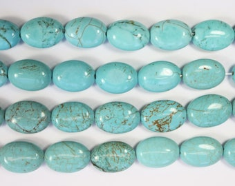 Stabilized Turquoise , Blue Beads, Gemstone Beads, Oval Beads, DIY, BS270
