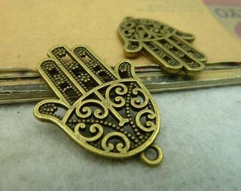 2pcs 35x24mm Bronze hand of Fatima
