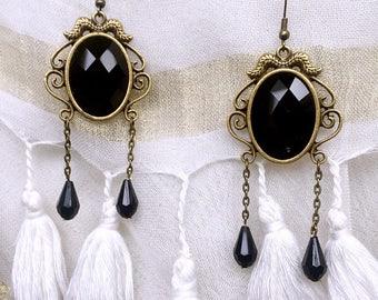 Black Bohemian vintage oriental bead earring
