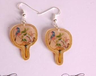 Golden fan, Blue Bird earrings