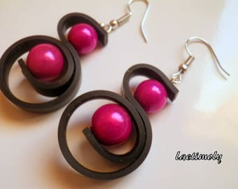 fuchsia black earrings