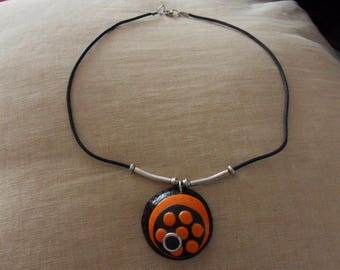 CLAY NECKLACE POLYMER CLAY AND FOIL BEADS