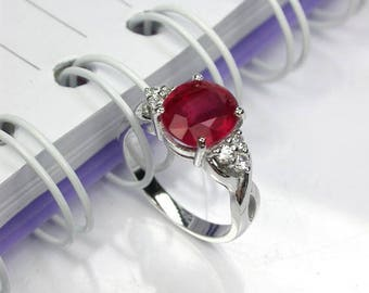 4.85 ct Natural red ruby ring sterling silver wedding ring.
