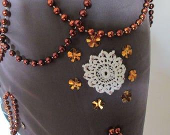 08-ceinture en voile brun   pour  danse orientale