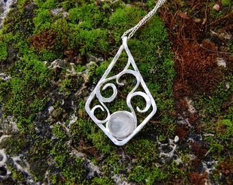 rose quatz sterling silver jewelry pendant