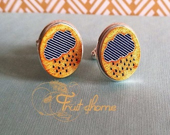 """Nice pair of cufflinks """"Anatole"""" silver metal and wood cabochons hand painted"""