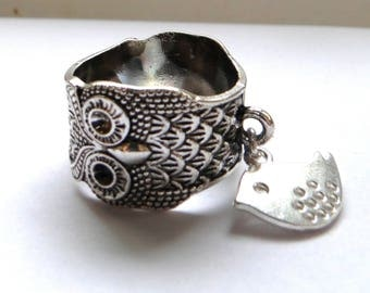 OWL with silver bird charm ring