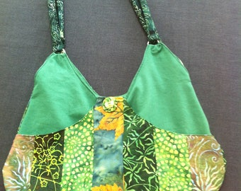 Green patchwork shoulder bag