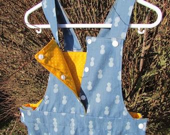 Dress fabric overalls blue jean print pineapple