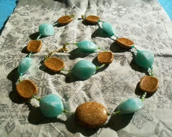 set (necklace and bracelet) large, pastel summer (green and wood)