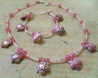 set (necklace and bracelet) modern, summer, colorful (Pink)