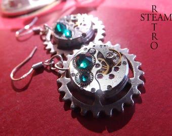 Green Crystal Swarovski earrings Steampunk by Steamretro