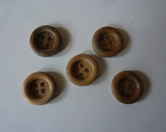 8 genuine 20 mm in diameter, thickness 5 mm medium edges wooden buttons