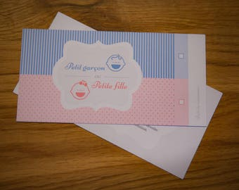 Card invitation - Reveal Party / Baby Shower