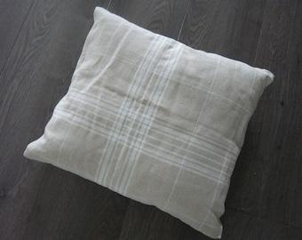 Printed natural linen white mattress cushion