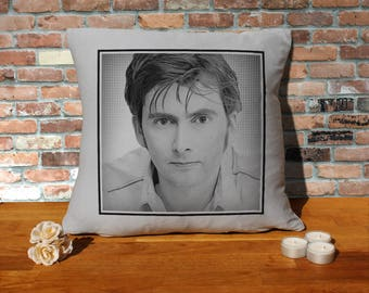 David Tennant Pillow Cushion - 16x16in - Grey