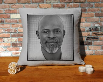 Djimon Hounsou Pillow Cushion - 16x16in - Grey
