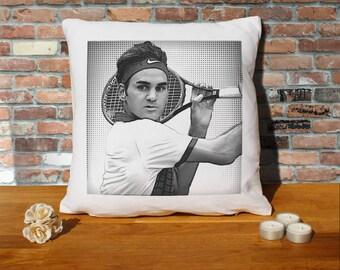 Roger Federer Pillow Cushion - 16x16in - White