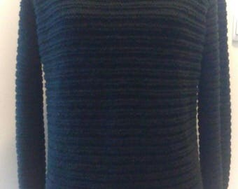 Women sweater black, knitted by hand.