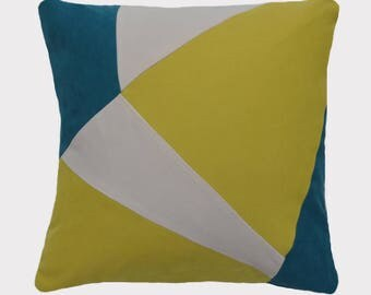 Removable pillow, created in a contemporary, yellow, blue and off white colors, geometric patterns.