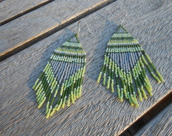 "Earrings woven beaded ""Elaia"""