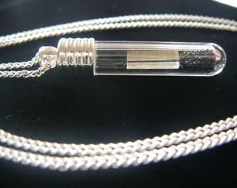Necklace with glass mirror piece glass jar
