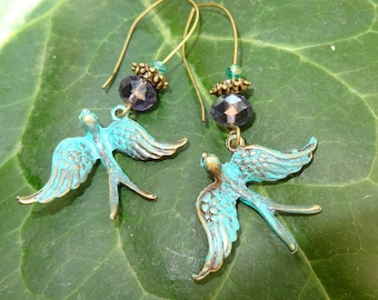 birds colombeen bronze verdigris patina and crystal earrings