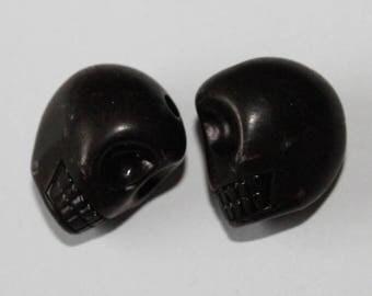 Large skull, black, 17 * 13 mm, the pair