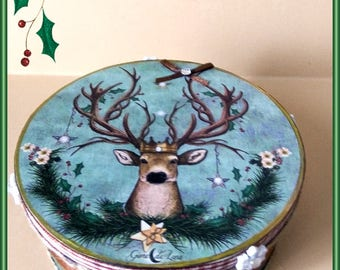 Christmas deer wooden box