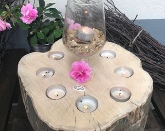 With glass tea light holder round