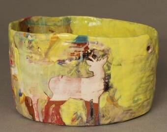 Handmade Ceramic pottery with deer