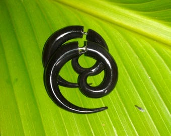 Black Horn Spiral Organic Fake Gauges Earrings
