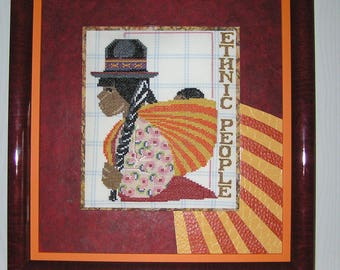 Painting of a Peruvian Burgundy and orange colors