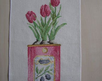 Pink tulips embroidery