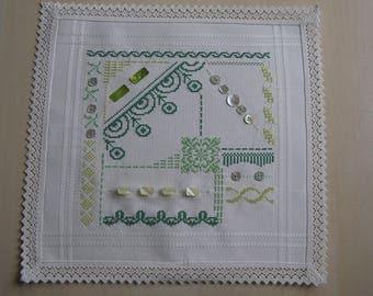 Green Cross stitch doily