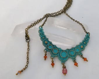 """Necklace Bronze """"Green"""" beads"""