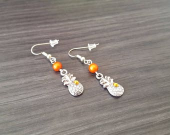 Pineapple Orange rhinestone Earrings