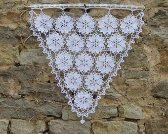Curtain bise breeze fine lace crochet, handmade, white cotton top range, designs, hearts, housewarming gift and wheels.