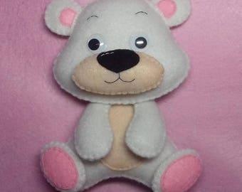 Teddy bear Felt toy Stuffed animals Children's room decor Bear made of felt Doll-bear White bear Soft gift Gift to the child