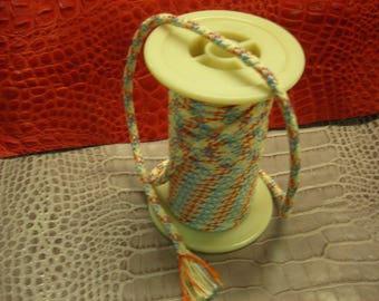 Orange cotton/viscose Ø 8 mm ivory blue cord