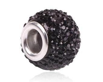 set of 2 bead round, acrylic, color - black, European, charm 12 * 9 * 5 mm