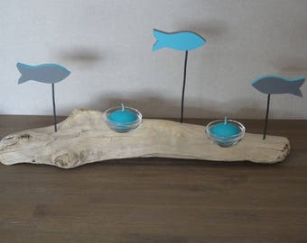 Candle Driftwood fish color with blue - grey