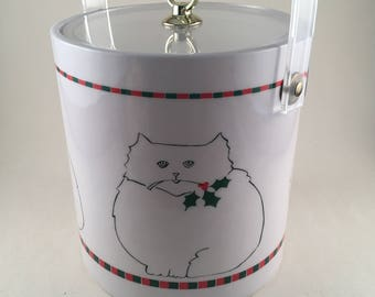 Vintage Cera Ice Bucket - Christmas Cats -Retro Cera Christmas Ice Bucket with Cats - Vintage Cera Christmas Ice Bucket - Holiday Barware