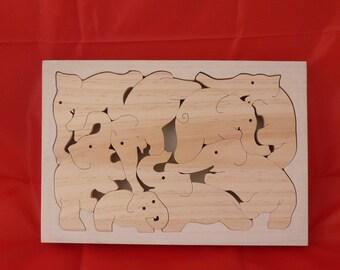 """Tribal elephant """"woodcut puzzle frame"""