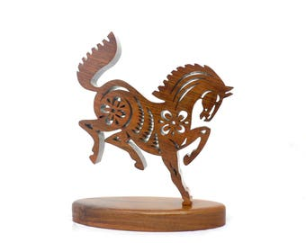 Tribal decor horse making 'History' solid walnut