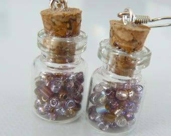 Earrings shiny Browns seed bead glass vial