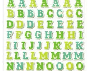 "Stickers Cooky relief ""Alphabet green / blue"" x 93 - MAILDOR - Ref CY008"