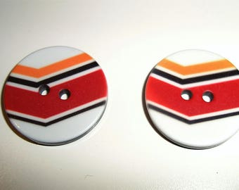 Round button with red orange black stripes white - 2 holes - 20 mm - sewing - knitting - Scrapbooking
